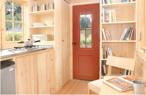 tiny home interior; kitchen, storage, entrance