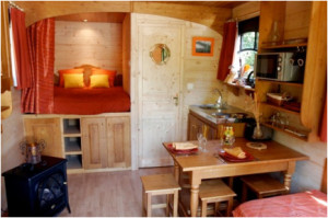 tiny home interior; kitchen, dining, bedroom