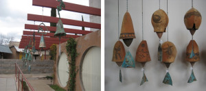 Ceramic and metal bells cast from bronze on site, Santa Clarita Valley Interior Designer