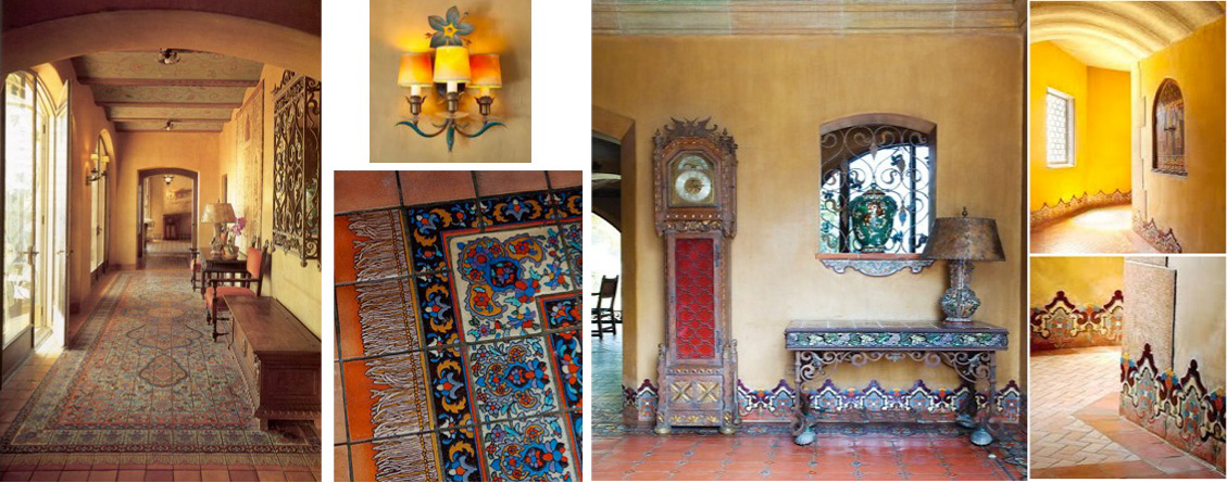 Main floor hallways of dazzling decorative tiles, hand-carved doors, frescoes, molded ceilings, lead-framed bottle glass windows, wrought-iron filigree covered windows