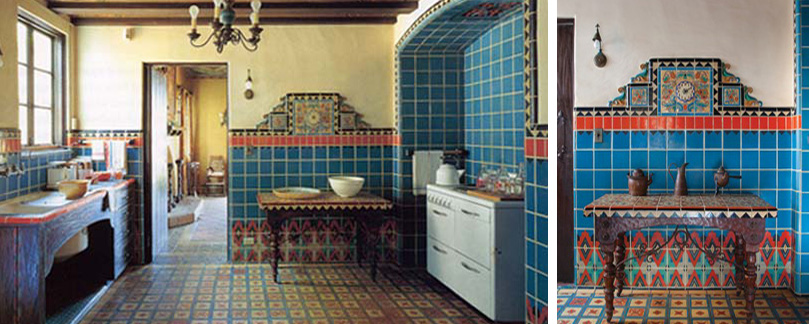 Decorative tiled main floor kitchen with early version dishwasher & colorful tiled clock