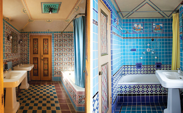Upstairs large tiled master bathroom & nautical themed tiled bathroom