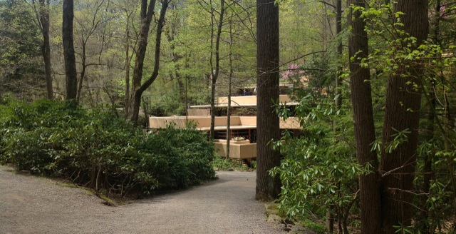 Fallingwater beyond tree-lined path