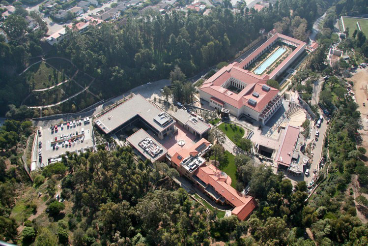 Aerial view of the Getty Villa
