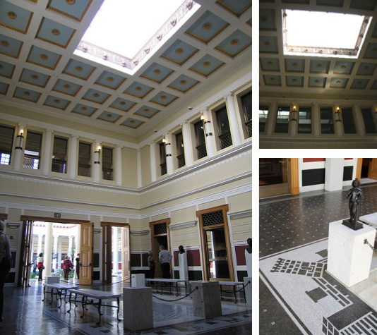 The Villa's Atrium: center open ceiling; small pool-like area below surrounded by black & white mosaic pavement