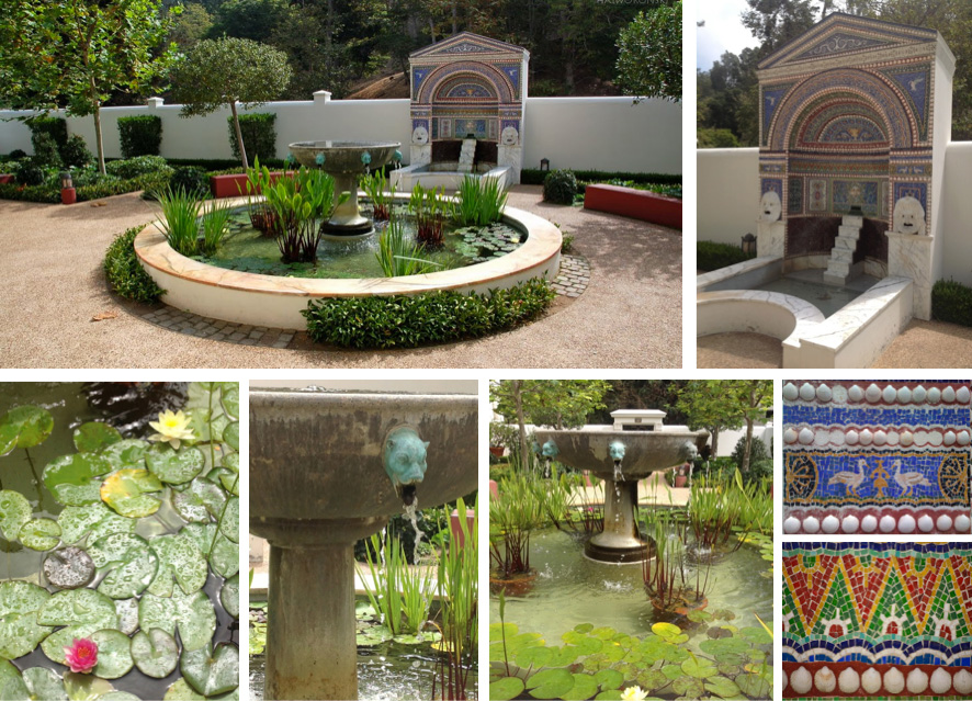 The East Garden's 2 sculptural fountains: east wall-mosaic & shell fountain; central circular pool fountain with sculpted bronze civet heads & pool planted with waterlilies