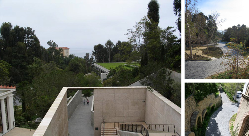Views from open-air path leading to parking structure: ocean vista through trees & ancient Roman-like roads below