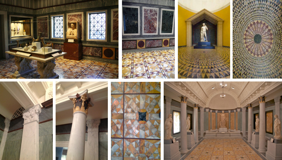 Marble rooms: intricate patterns of colored ancient & modern marbles used on walls floors