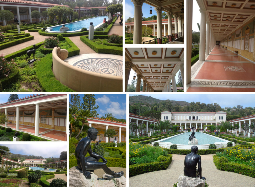 Outer Peristyle: 220 ft. long pool, copies of ancient bronze sculptures, plants arranged in patterns, illusionistic wall paintings, Corinthian & Doris columns, floor mosaics, carved ceilings