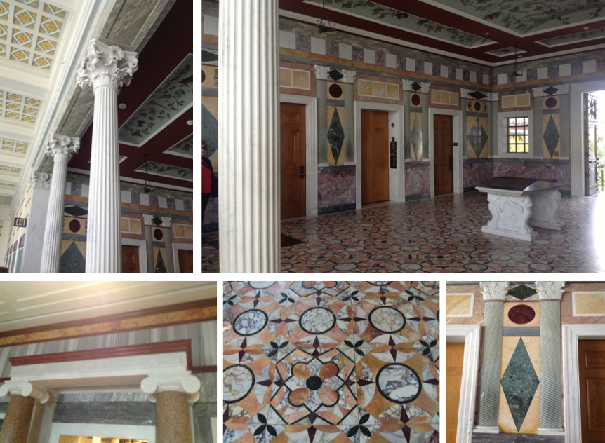 Triclinium: geometric marble designs on floor & walls, grapevine-painted ceiling, Corinthian columns
