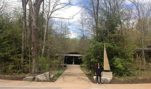 Judy in front of Fallingwater's Visitors Center