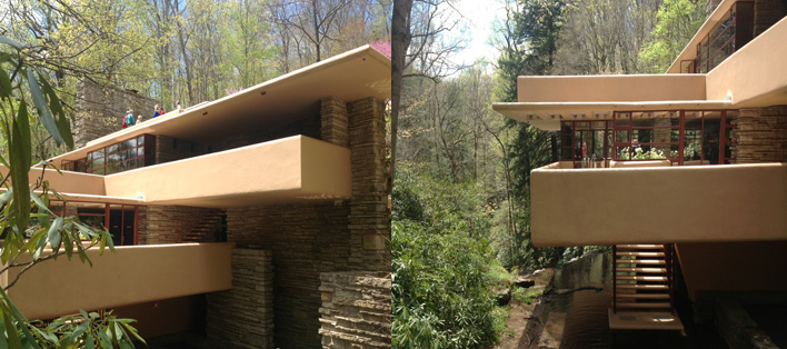 Cantilevered terraces over stream