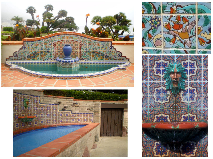 Colorfully tiled Neptune and Peacock fountains