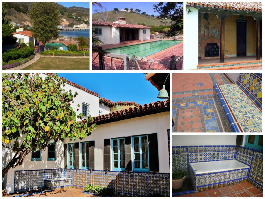 Malibu tiled bathhouse, swimming pool & outdoor tub used for bathing family dogs