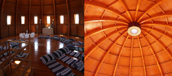 Views of acoustic, sonic chamber dome