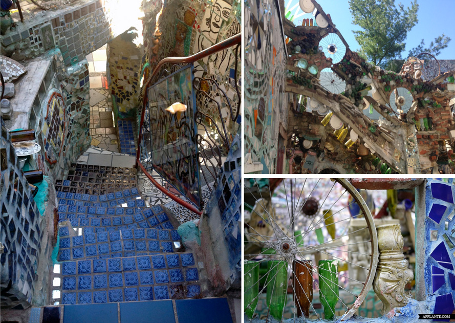 Mosaic stairways & recycled bicycle wheel details