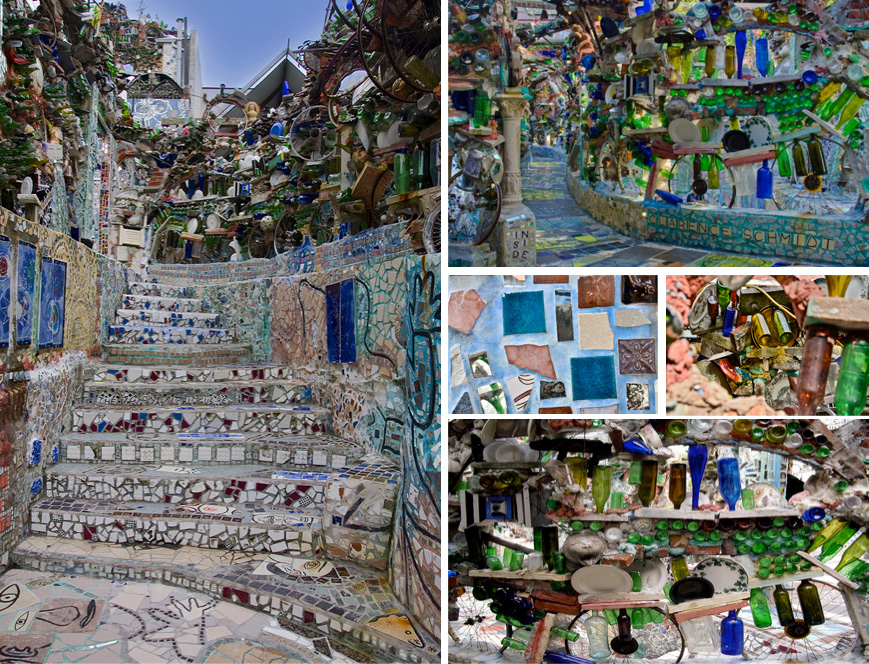 Detailed views of the Gardens' mosaic & recycled elements