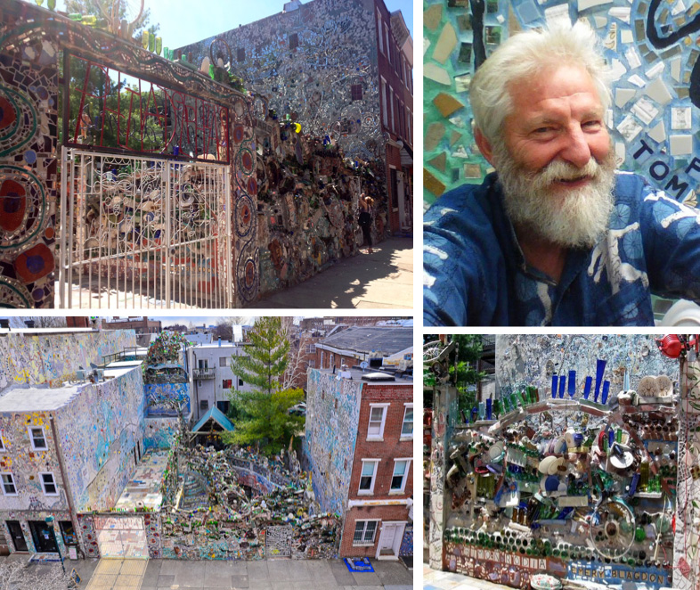 Views outside Gardens' entrance, aerial view of complex, image of Isaiah Zagar