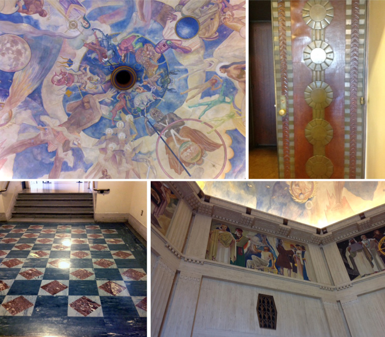 Interior details- painted murals, travertine walls and moldings, intricate bronze door, marble inlaid floor