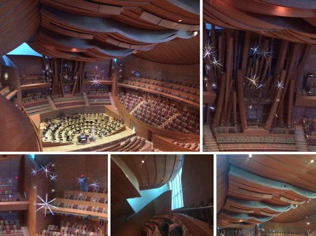 Views of inside the auditorium, and organ.