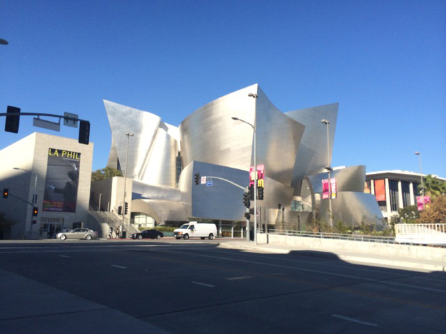 View of Disney Hall looking up from 2nd Street.