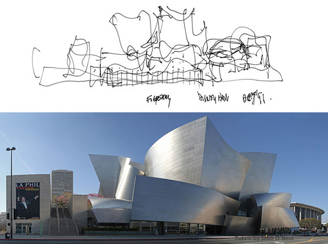 Disney Hall from Frank Gehry's sketch to completion.