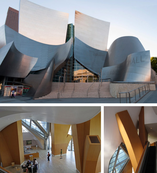 Disney Hall's Grand Ave. lobby entrance & within.
