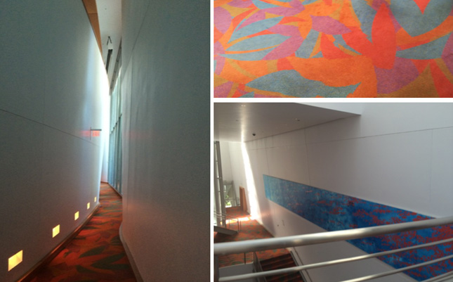 "Views of hallway leading to the auditorium, and closeup of ""Lillian"" carpet."
