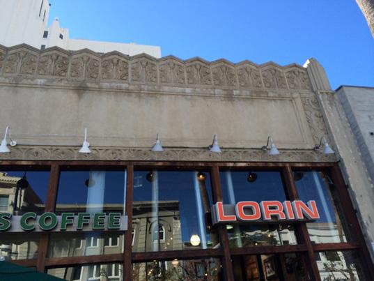 1929 3rd Street Promenade building's Art Deco facade details.