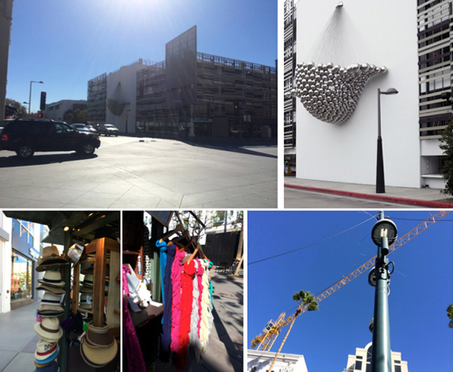 'Cradle' public art installation, lamppost, storefront hats and scarves along 3rd Street Promenade.