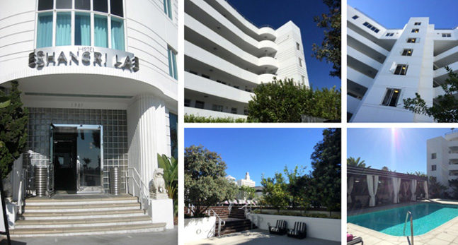 1939 Hotel Sangril-La Streamline Moderne entrance and amenities details.