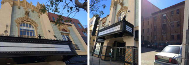 1911 Majestic Theater, facade details from Santa Monica Blvd., condominium project visible from the side.
