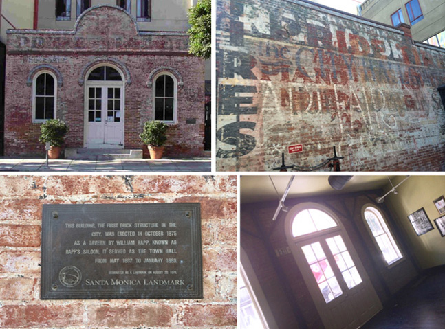 The 1875 Rapp Saloon 2nd Street view, the 'Ghost Wall', Historical Landmark plaque and interior details.