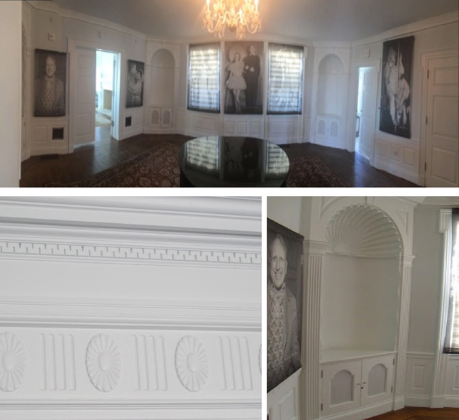 Panorama of the dining room with crown molding and built-in-details.