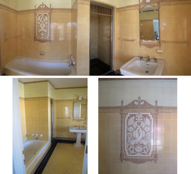 """Gold"" upstairs bathroom: panorama and opulent tile work details."