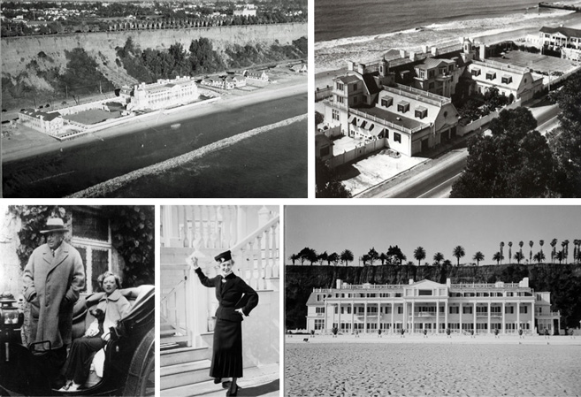 Ariel views of the Marion Davies and William Hearst Beach House property; Davies and Hearst.
