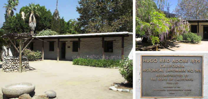 Views of the Hugo Reid Adobe, portion of the outdoor kitchen and the Historic Monument plaque.