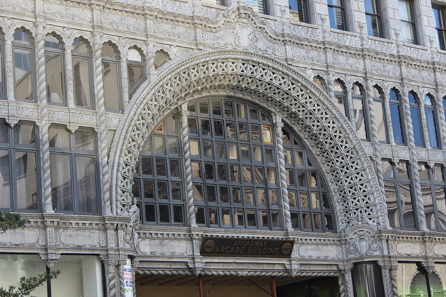 Arcade building's Spanish Baroque façade on Broadway.
