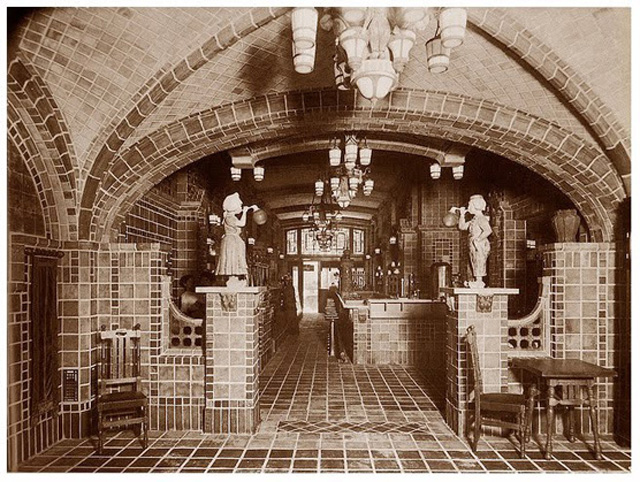 The original Chocolate Shop's Dutch-themed tiled interior.
