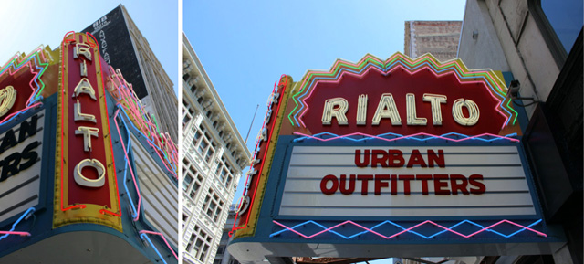 Two detailed views of the Rialto's neon marquee.