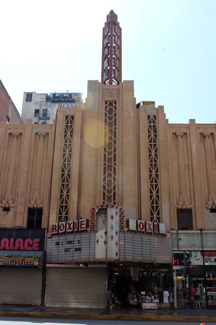 Roxie Theater's Art Deco façade.