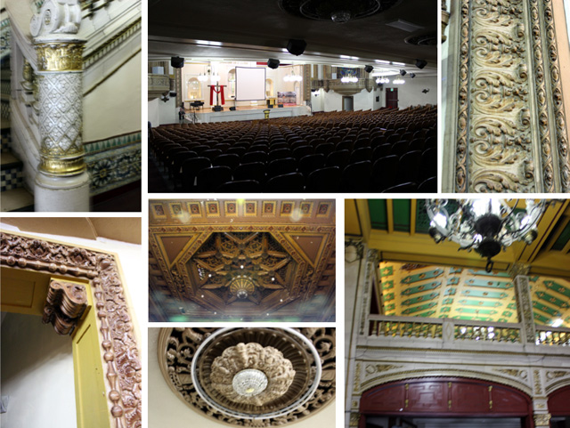 State Theater's eclectic Spanish interior details.